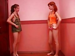 Two skinny teens with tight butts teasing and posing