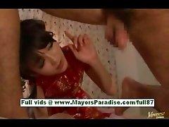 Shou nishino horny japanese chick rubs a cock