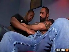 Muscular black gay sucking cock