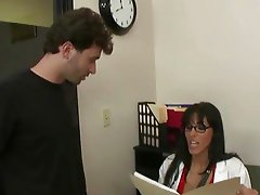 Bitchy brunette doctor shags with horny married couple