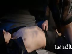 Blindfolded model gets fuck by strap on