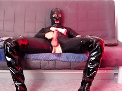 5 cm dildo fuck in catsuit thigh boots with cumshot