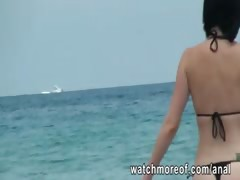 Curvy brunette beach babe ass screwed