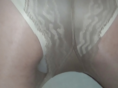 cum in beige panties and pantyhose