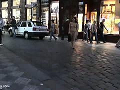 Crazy tara has fun on public streets