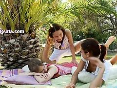 Three nymphs enjoying vagina rubbing
