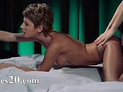 lesb strap on hardcore fucking
