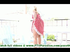 Carolyn badass blonde hottie flashing pussy and masturbating on balcony and walking naked