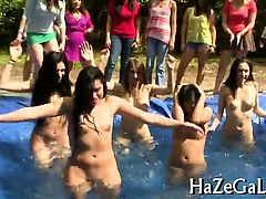 Lesbian awesome babes relax in group