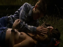 Chloe Sevigny topless making out with Hilary Swank beside a