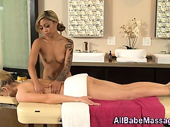 Asian tattooed lesbian masseuse