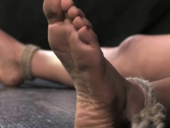 Nipple punished tied up sub soles tickled