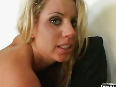 Slutty Paige Adams gets a hot ooze of cock sauce on her mouth after a nice fuck