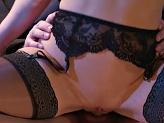 sexy milf in lingerie provides herself to her man's service