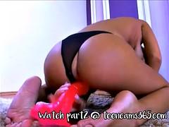 teen rides big dildo on webcam