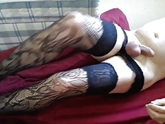 Lace hold ups and vibe play