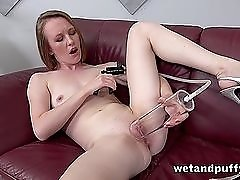 Teen with tiny tits plays with her shaved pussy