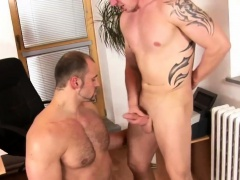 Gay hunk gets face jizzed