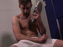 Pierced hunk wanks cum in lockerroom solo