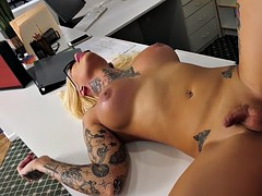 busty tattooed ts nadia love anal banged on office desk