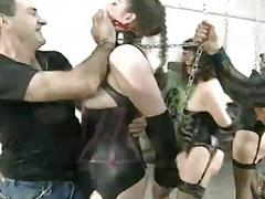 Gagged and bound bimbo craves for hard pain BDSM porn