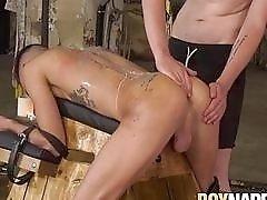 Maledom Leo Ocean fucking waxed sub and cumshot