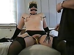 Wife enslaved and punished by a sadistic whip-wielding horny guy