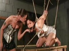Two girls stuffed and whipped are crying from pain BDSM