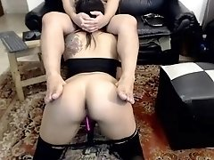 Submissive brunette wife in stockings deepthroats a fat cock