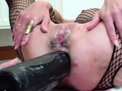 XXL double dildo fucking each of her wrecked holes