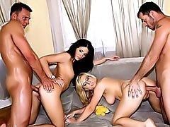 Foursome with hot fuck sluts