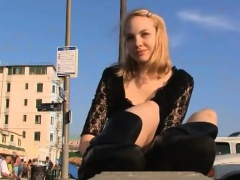 Dazzling blonde foot fetishist showing off her soles in the