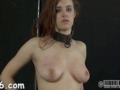 Insane super-bitch tears up during her perverse vagina castigation sesh