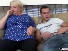 Chubby granny babe bouncing