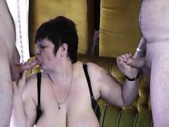 Big tits mom threesome with cumshot
