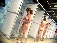 Real public showers with covert web cam set inwards