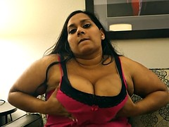 Indian amateur bbw fondles her tits and moans