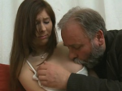 Juicy young hottie enjoys getting old ramrod in pussy