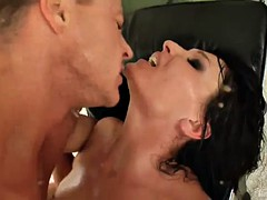 kinky milf swallows a big load after being fucked by a big cock