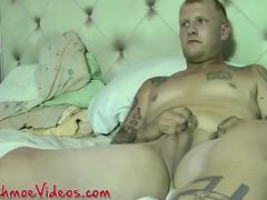 Tattooed twink Tatt loves having his cock sucked by Joe