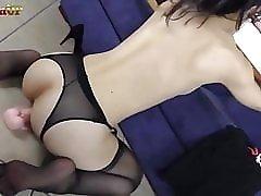 Wild brunette in stockings rides her dildo