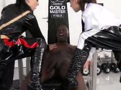 Mistresses get cumshot tugging