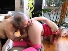 Youthful sweetie is fascinated to ride old hard cock