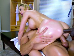 kagney linn karter gets double penetrated on the massage table