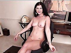 Pierced nipples chick masturbates her smooth pussy