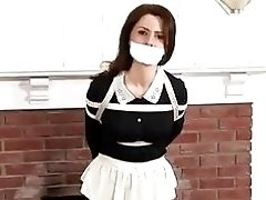 Tied up maid tries to escape from master BDSM bondage