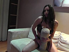 Busty babe spreads her legs for a big cock POV