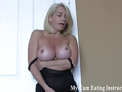 Eat a hot load of cum for your two mistresses CEI