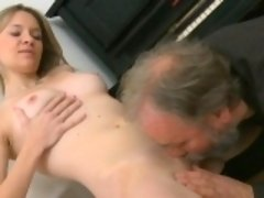 Lovely young sweetie is fascinated to ride old hard cock