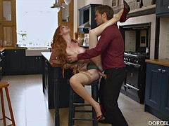 ginger babe bangs like crazy in the kitchen